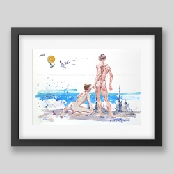 """Sand castles"" print"